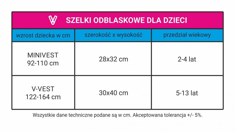 szelki odblaskowe tabela rozmiarów