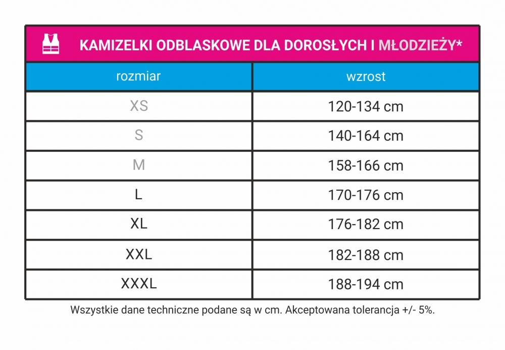 tabele rozmiarów kamizelki odblaskowe